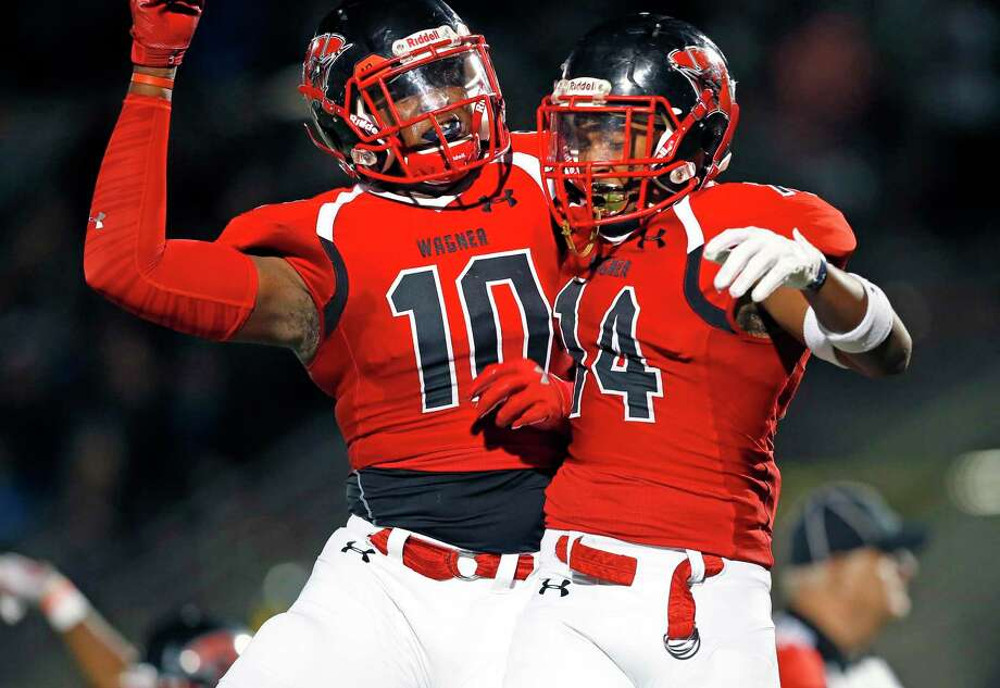 Wagner wide receiver Joerell Brown,11 celebrates his touchdown with Demarcus Hendricks against Shadow Creek in first half action for Class 5A Division I state semiifinal at the Alamo Stadium on Friday, December, 13, 2019. Score at halftime Shadow Creek 24 Wagner 21. Photo: Ronald Cortes/Contributor / 2019 Ronald Cortes