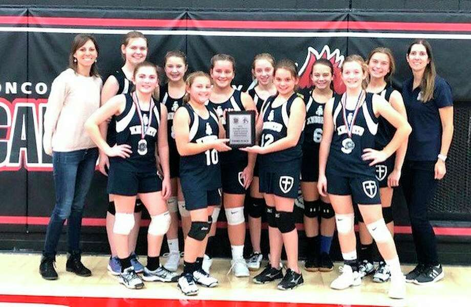 Members of the Christ the King Lutheran School Lady Knights Volleyball team are (back row) Katie Sattelberg, Claire VanTol, Ella Neumann, Lily Mammel, Rachel Sattelberg, Alberta Reinbold, Grace Herman and Katie Gremel; (front row) Brittney Sting, Erin Jubar, Addison Sattelberg, and Jenna Gremel. (Submitted Photo)