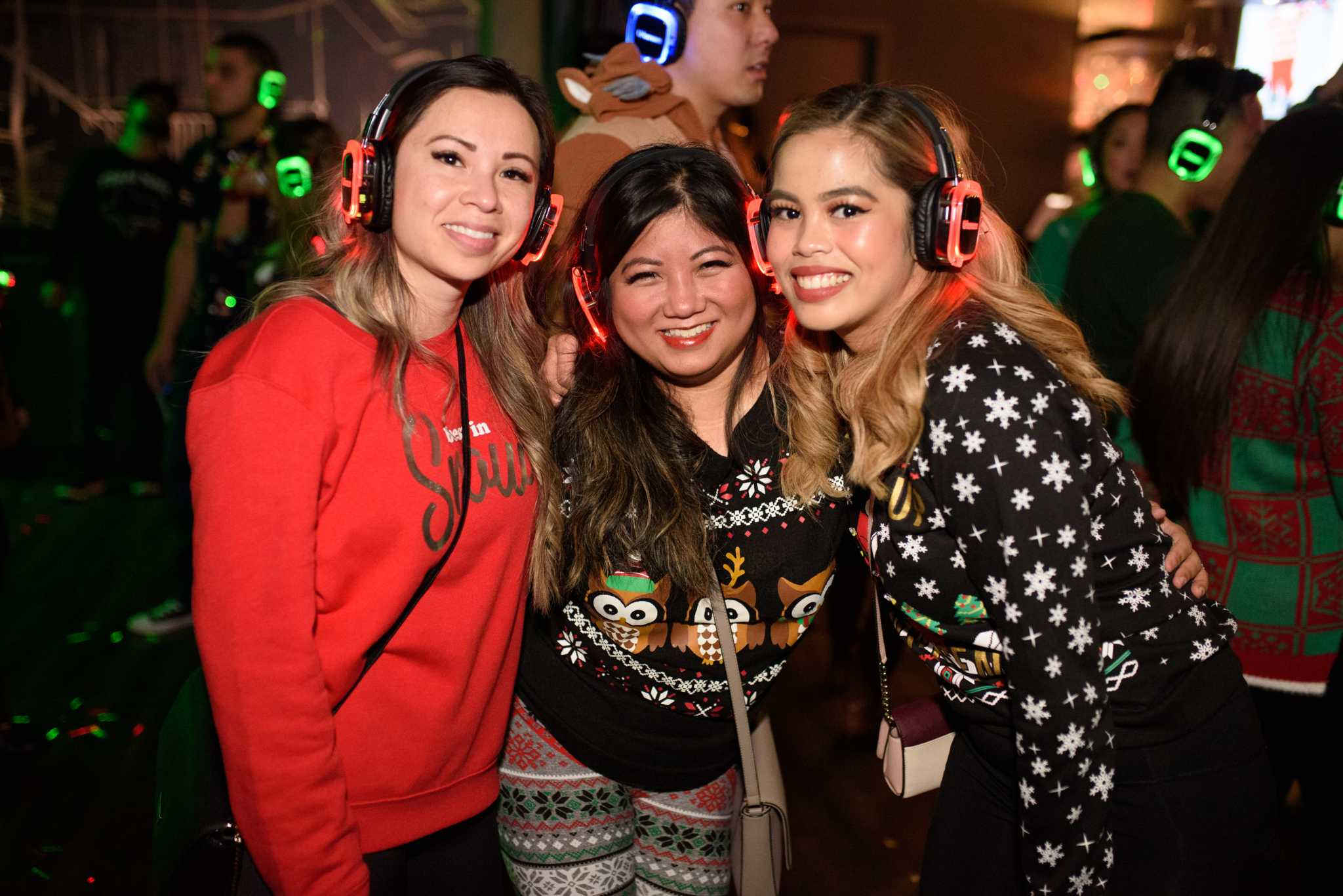 Surreal moments captured at Houston's Silent Disco 'Ugly Sweater' Bash