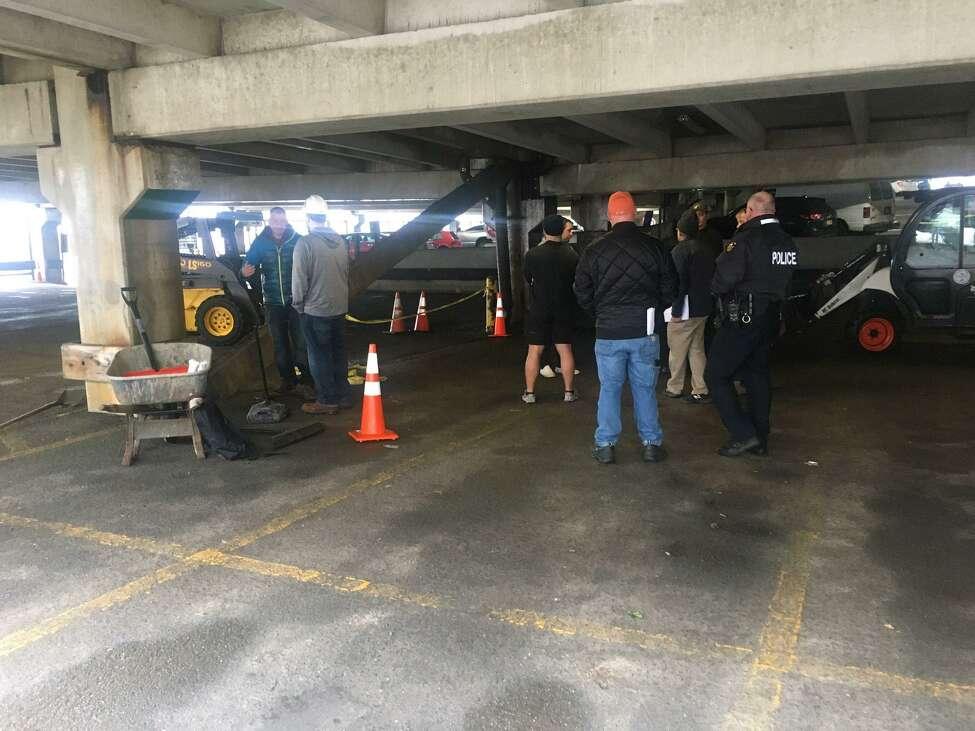 Uncle Sam Parking Garage, site of fallen beam, Dec. 14, 2019.