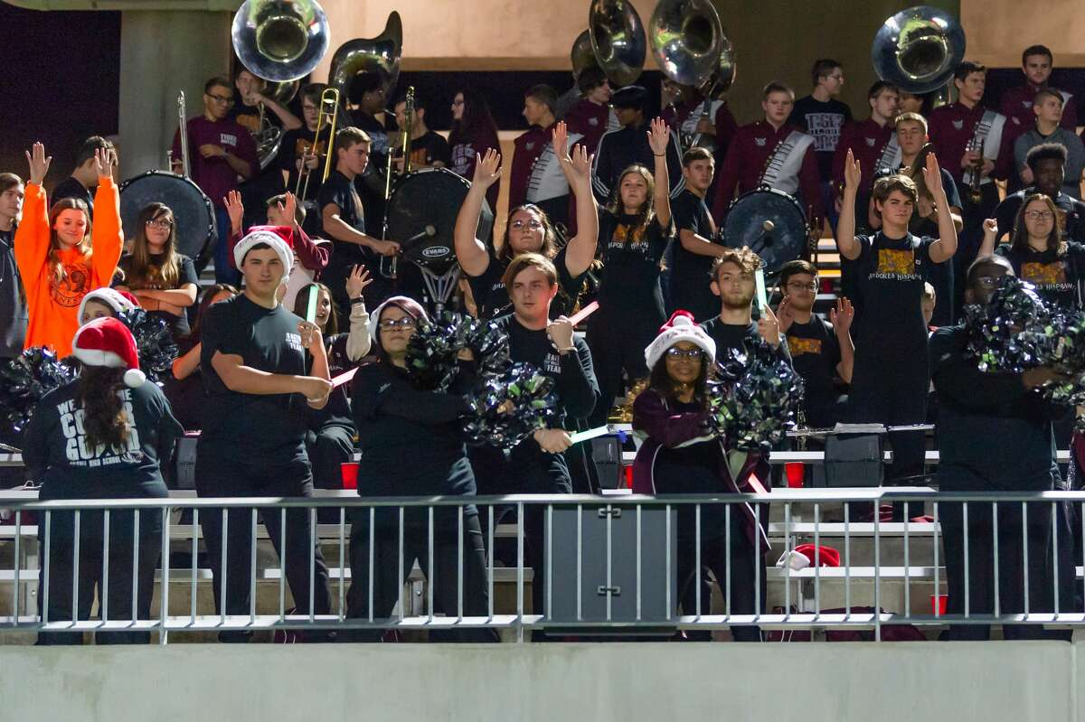The Silsbee band and color guard try to get the hometown fans psyched up in the second quarter of the state semifinal game as the Tigers played the Wimberley Texans at Legacy Stadium in Katy, Texas on Friday, December 13, 2019. Fran Ruchalski/The Enterprise