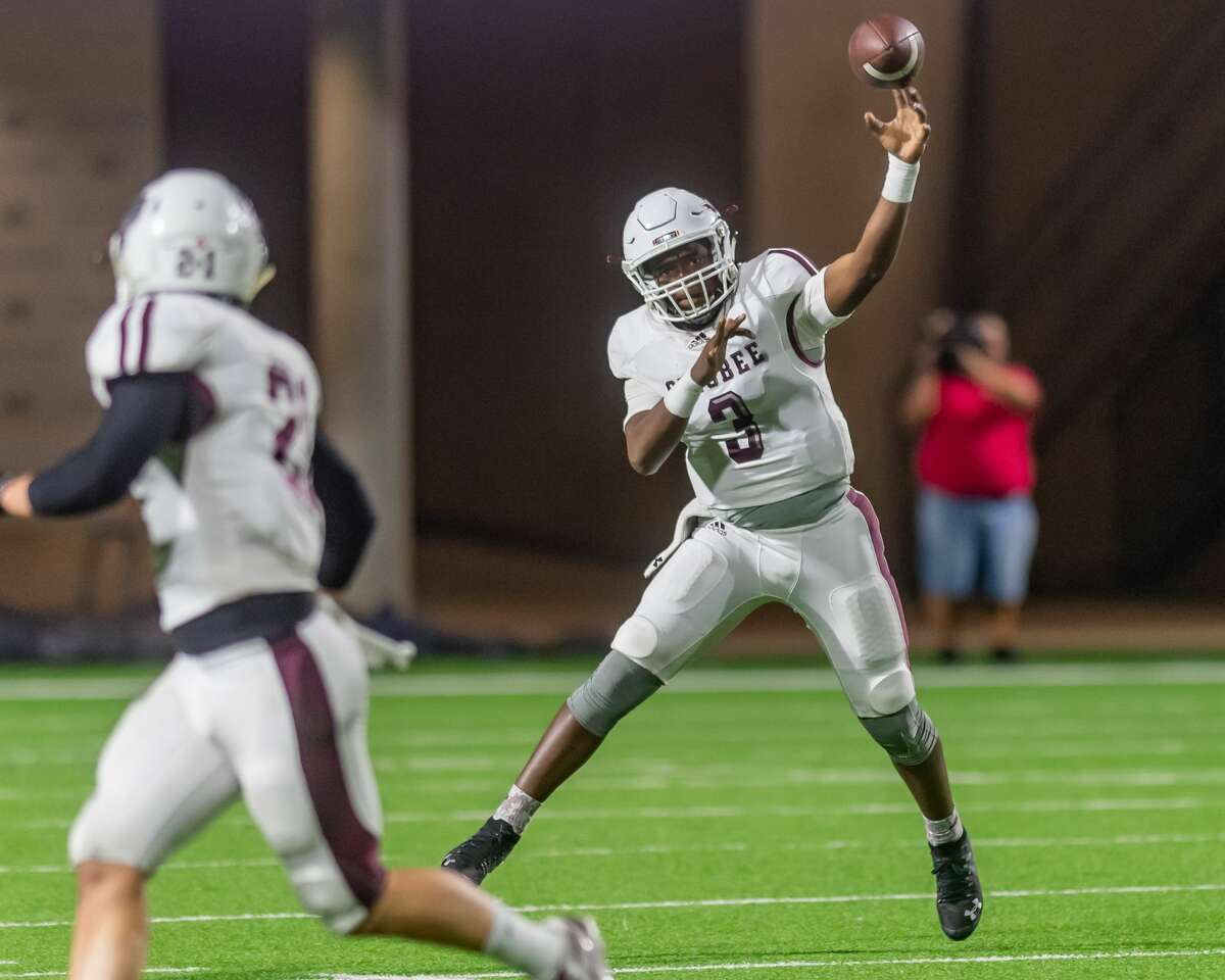 Silsbee's quarterback Javon'te Hunt (3) gets off a pass in the first half of the state semifinal game as the Tigers played the Wimberley Texans at Legacy Stadium in Katy, Texas on Friday, December 13, 2019. Fran Ruchalski/The Enterprise