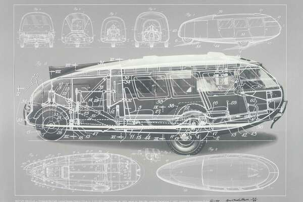 The design of Buckminster Fuller's three-wheeled car, Dymaxion Car of 1933.