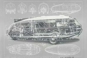 The design of Buckminster Fuller's three-wheeled car, Dymaxion Car of 1933.