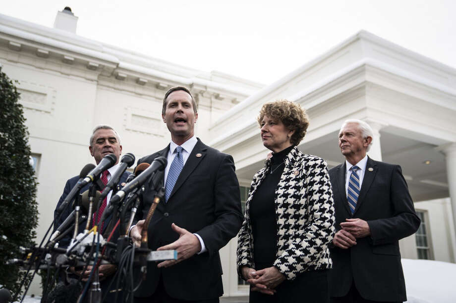 Rep. Rodney Davis, R-Ill., and other members of Congress speak after a lunch with President Donald Trump on Jan. 15, during the partial government shutdown. Photo: Washington Post Photo By Jabin Botsford / The Washington Post