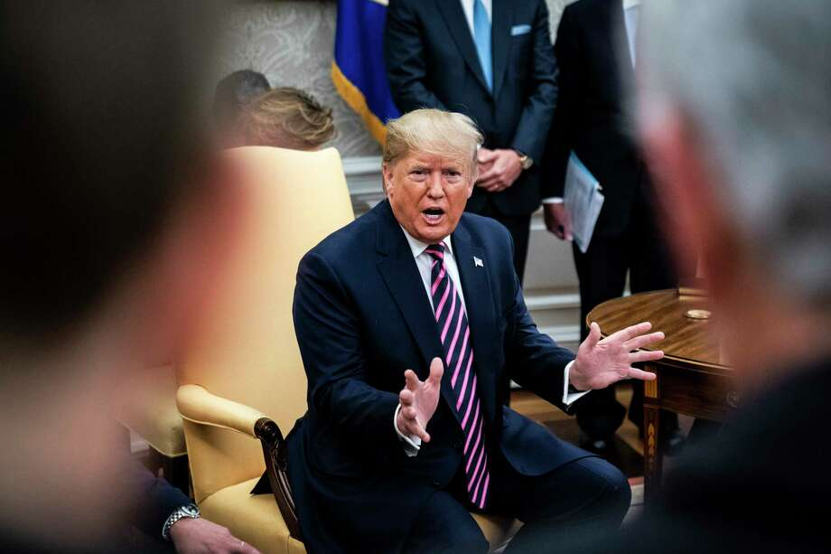 President Donald Trump speaks during a meeting with Paraguay President Mario Abdo Benítez in the Oval Office at the White House on Friday. Photo: Washington Post Photo By Jabin Botsford / The Washington Post