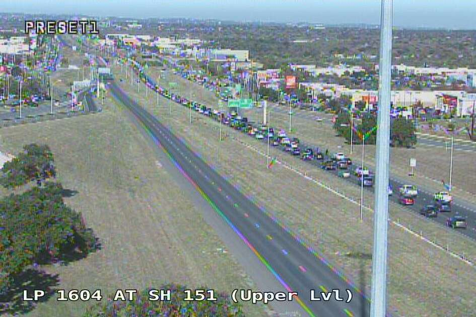 Traffic cameras show congestion on Loop 1604 on the far West Side following a wreck Saturday, Dec. 14, 2019.