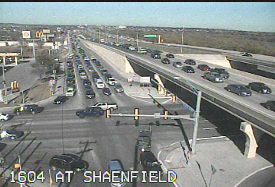 Traffic cameras show congestion on Loop 1604 on the far West Side following a wreck Saturday, Dec. 14, 2019. Photo: Screen Grab Texas Department Of Transportation