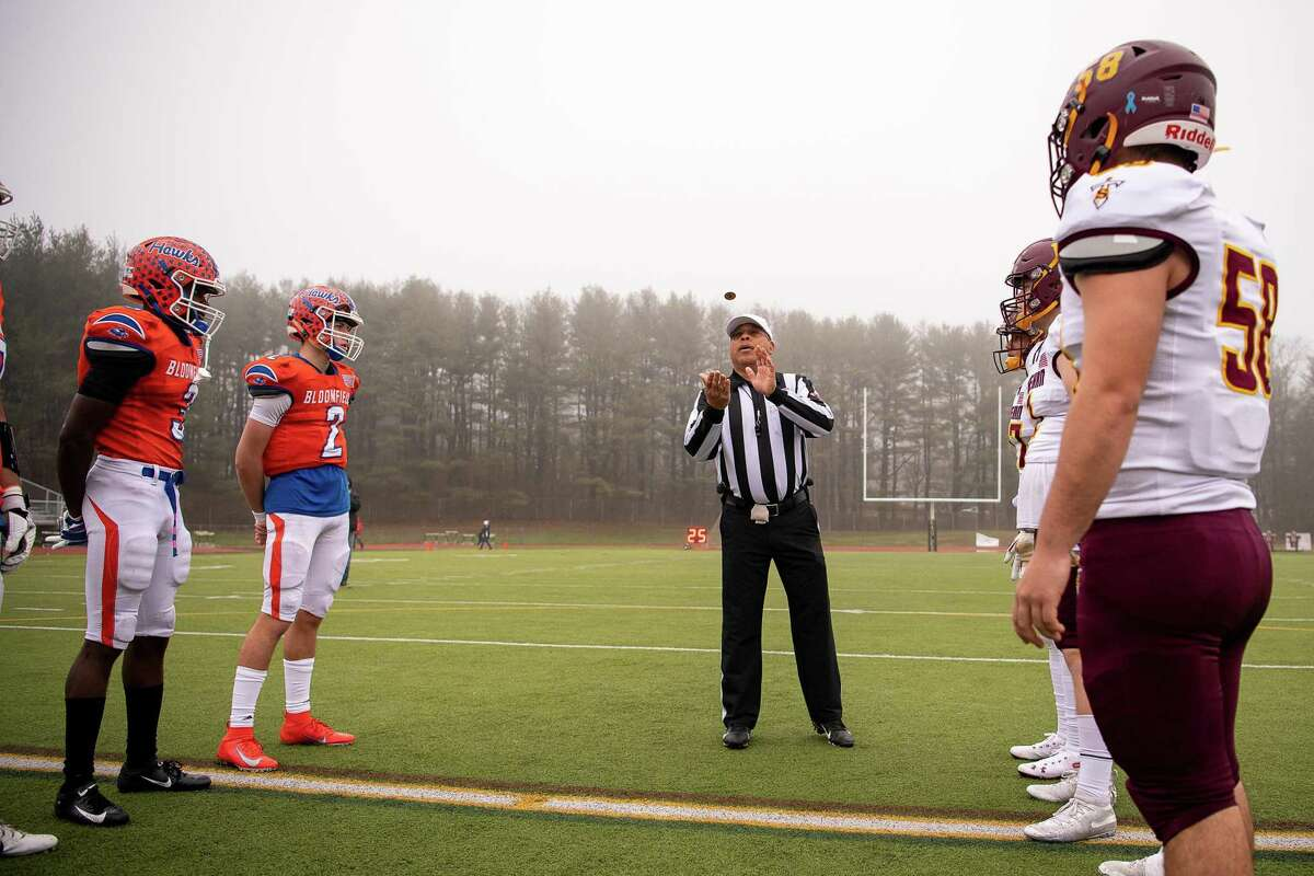 The coin toss for the 2019 CIAC Class S Football Championship game