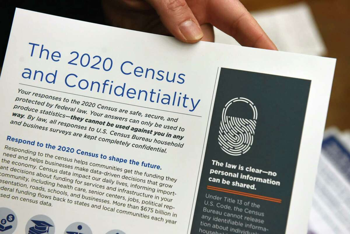 A paper informing readers about United States 2020 Census data confidentiality is displayed at the East Greenbush Community Library on Friday, Dec. 6, 2019, in East Greenbush, N.Y. (Will Waldron/Times Union)