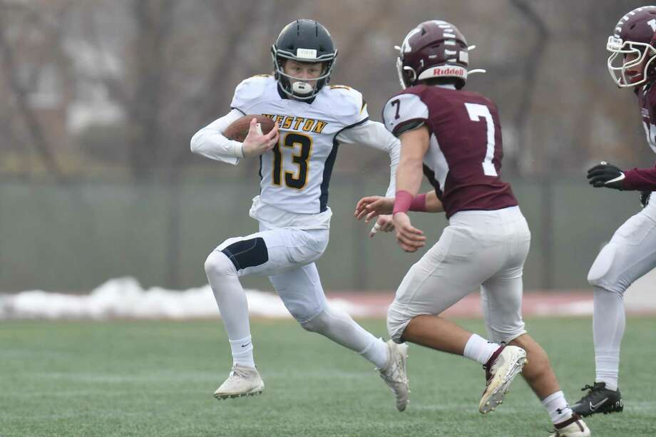 Football action of the CIAC Class M Football Championship between the Weston Trojans and Killingly played on Saturday Dec 14 ,2019 at Veterans Stadium in New Britain, Connecticut. Photo: Gregory Vasil / For Hearst Connecticut Media / Connecticut Post Freelance