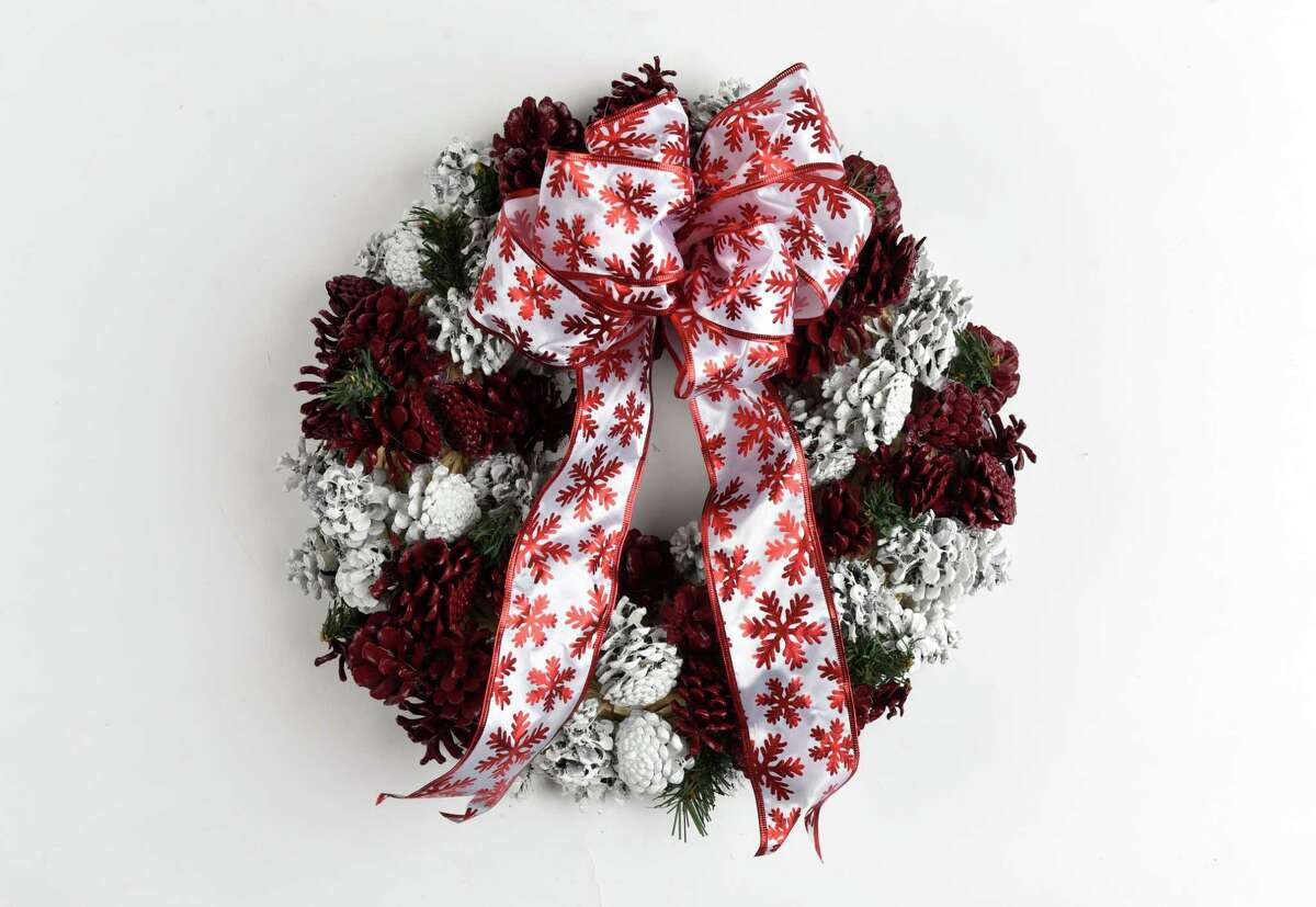Circles of Caring adult runner-up wreath from Marilyn Sirco on Thursday, Nov. 21, 2019, at the Times Union in N.Y. (Will Waldron/Times Union)