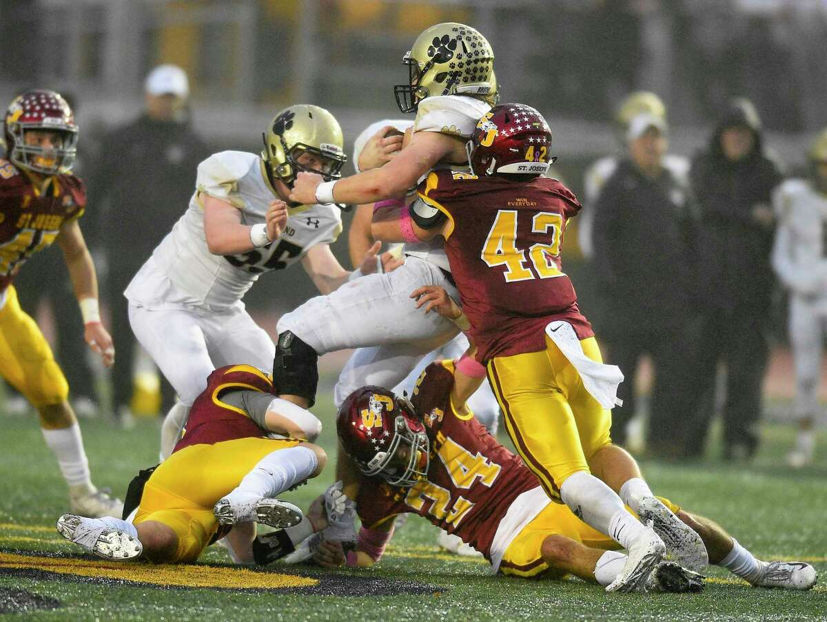 St Joseph defeats Hand 17-13 in the CIAC Class L state championship football game at Veterans Memorial Stadium in New Britian, Connecticut on Dec. 14, 2019.