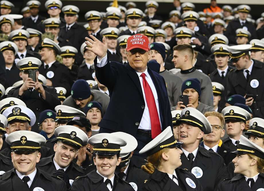 US President Donald Trump joins Naval Academy cadets during the the Army v. Navy American Football game in Philadelphia on December 14, 2019. (Photo by Andrew Caballero-Reynolds / AFP) (Photo by ANDREW CABALLERO-REYNOLDS/AFP via Getty Images) Photo: Andrew Caballero-reynolds, AFP Via Getty Images