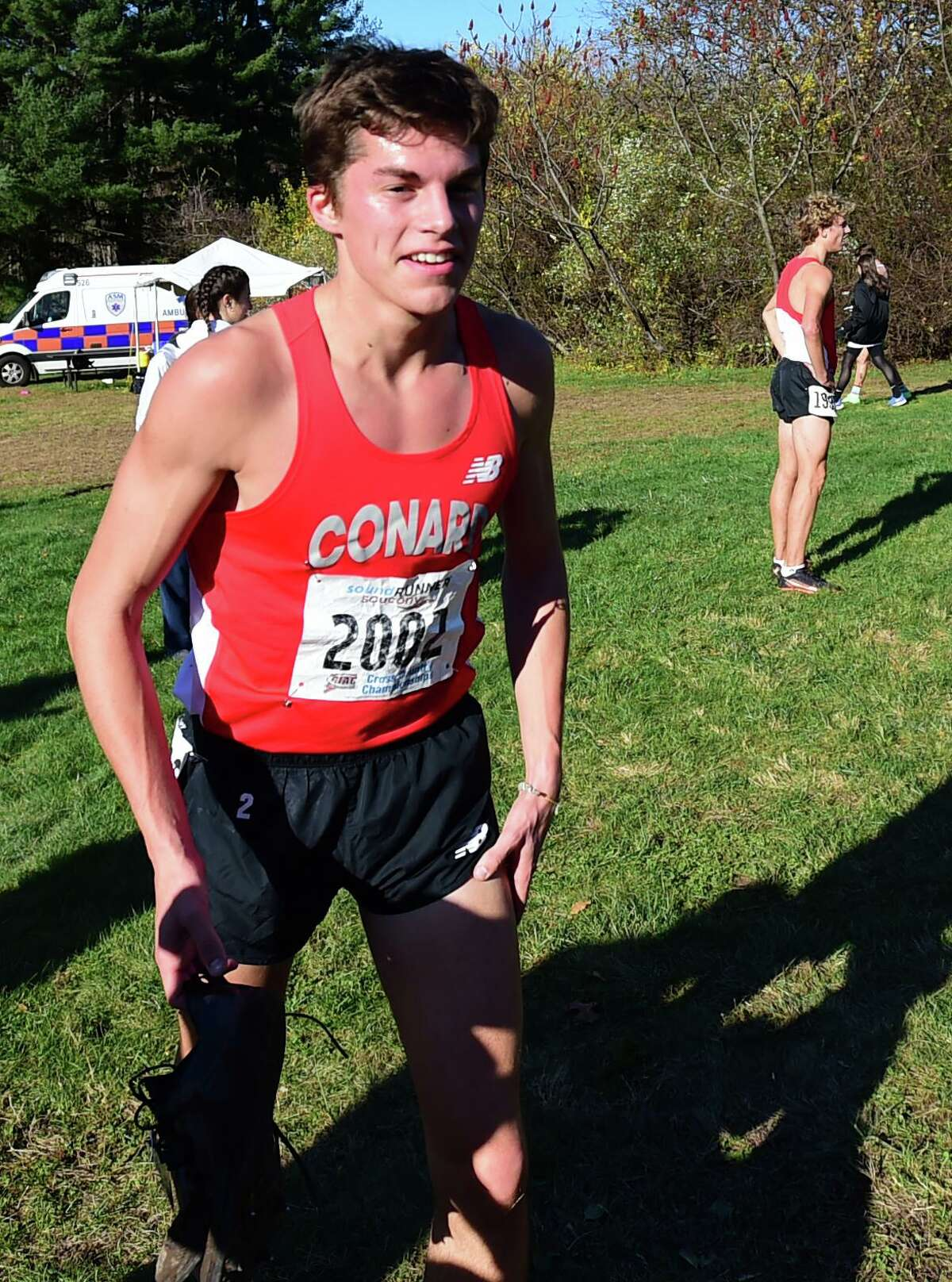 Manchester, Connecticut -Wednesday, November 1, 2019: 1st place finisher Gavin Sherry of Conard H.S. after wining the race during the CIAC Boys Cross Country Open Championship Friday at Wickham Park in Manchester:
