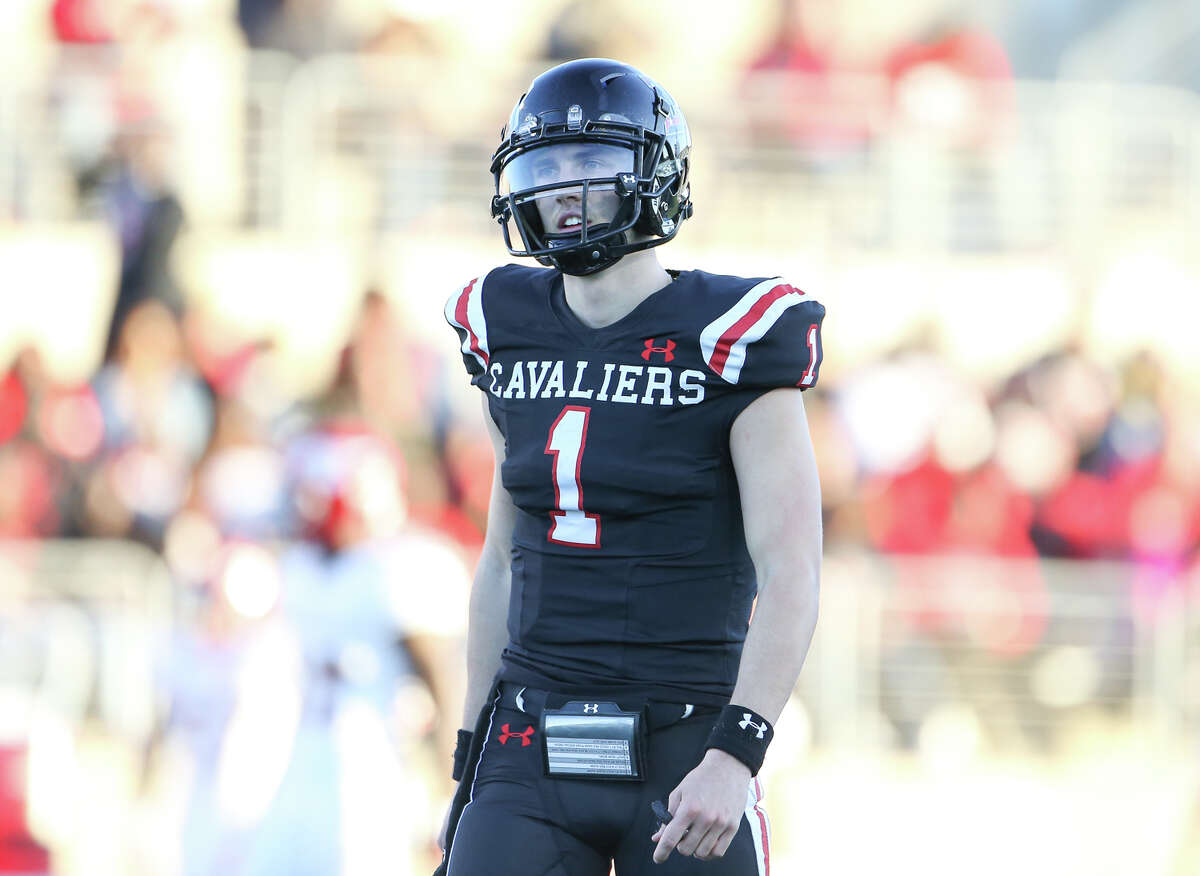 Lake Travis Cavaliers quarterback Hudson Card (1) reacts after throwing an incomplete pass on third down during the first half of a high school state semifinal football game, Saturday, Dec. 14, 2019, in Round Rock, TX.