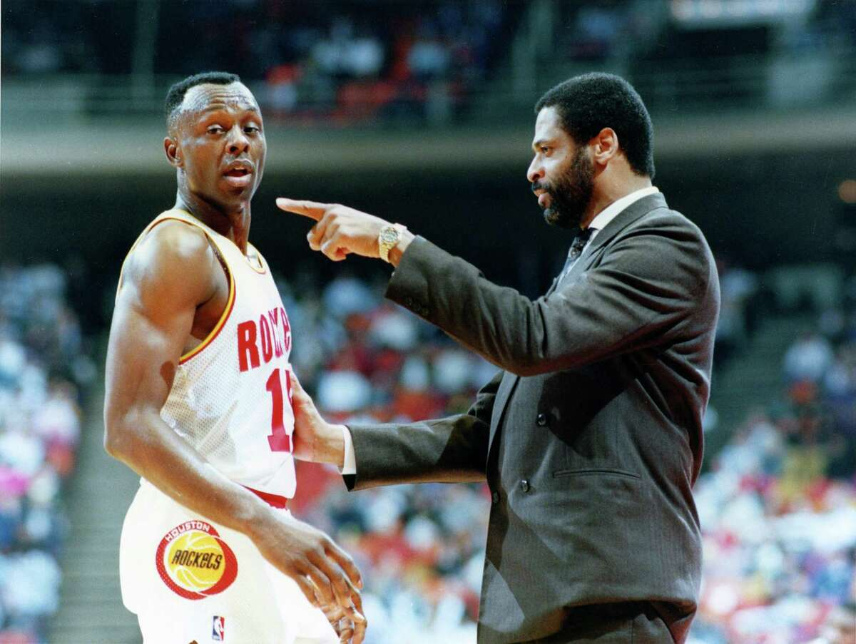 Don Chaney, right, stressing a point with Mitchell Wiggins in 1990, was the first black head coach in Houston Rockets history. Chaney starred at UH before a successful NBA career.