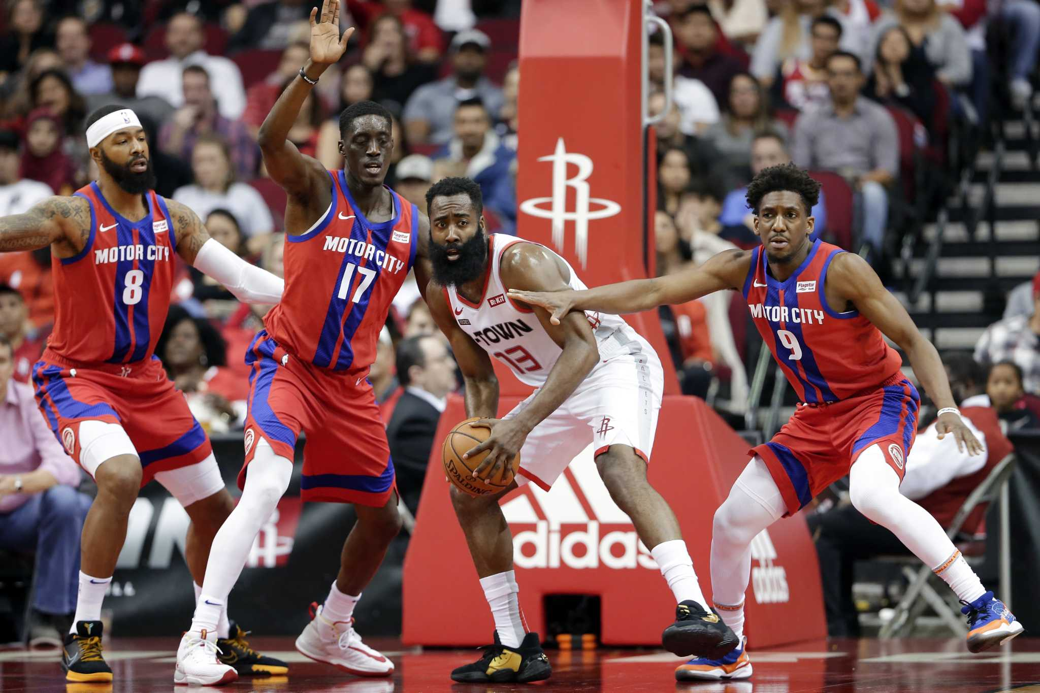 Shorthanded Rockets fall at home to Pistons