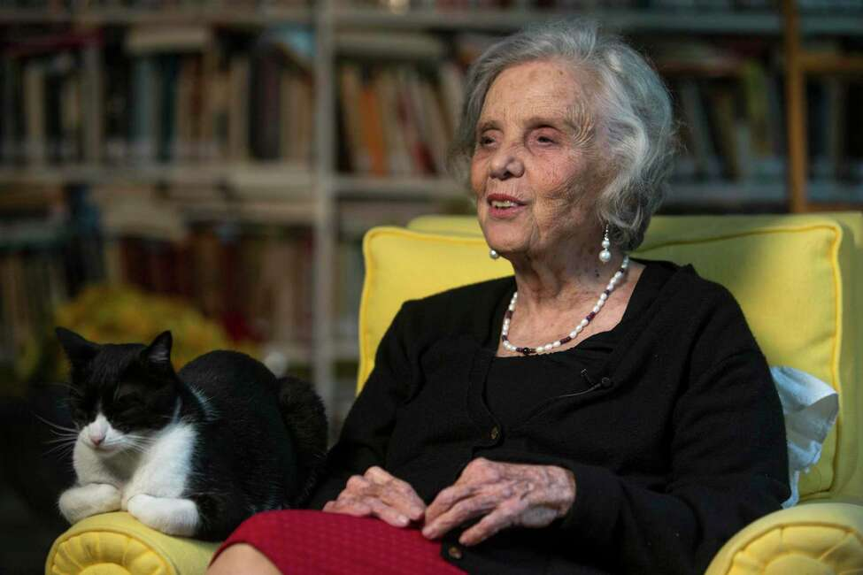 FILE - In this Sept. 24, 2015 file photo, Mexican writer Elena Poniatowska speaks during a interview at her home in Mexico City. Poniatowska is standing by her claim that she was sexually abused in 1954 by an older colleague, now deceased novelist Juan Jose Arreola. (AP Photo/Christian Palma, File)