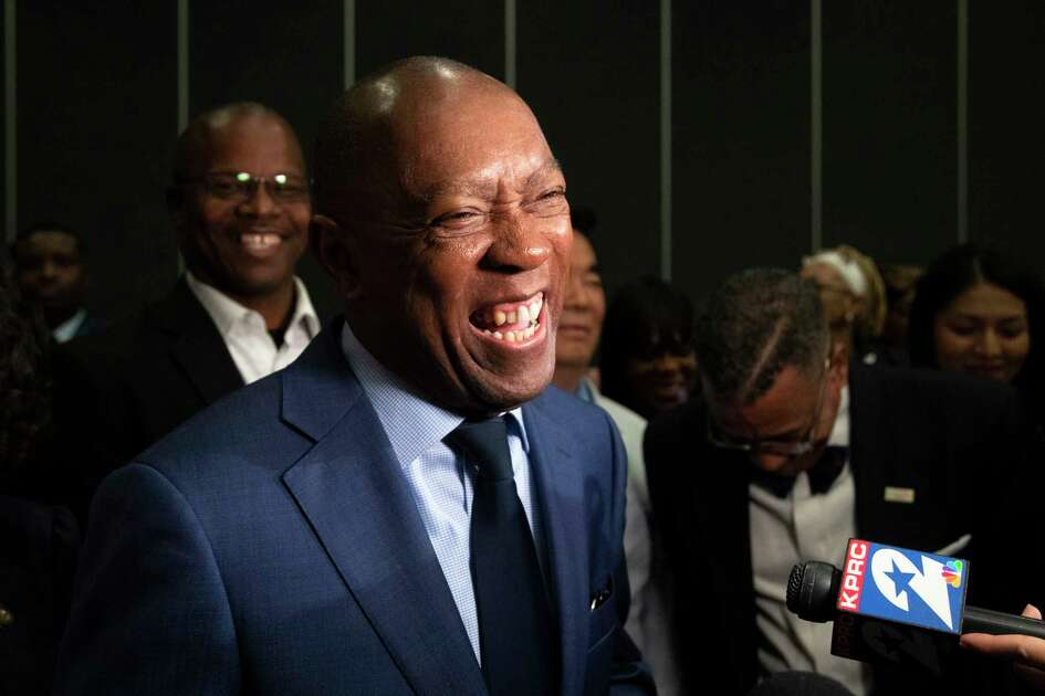 Mayor Sylvester Turner talks to the press at the runoff election watch party on Saturday, Dec. 14, 2019, in Houston.