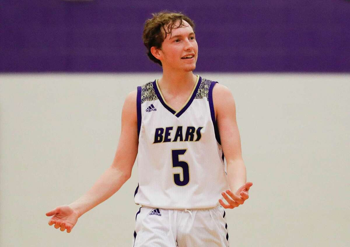 Montgomery guard Cade Tipton (5) reacts to a foul call in the second quarter of a high school basketball game at the MHS Bears Holiday Classic, Friday, Dec. 13, 2019, in Montgomery.