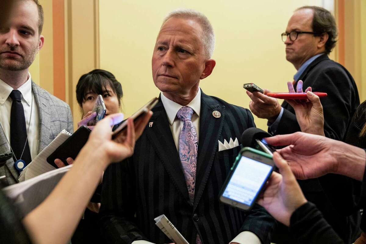 Rep. Jeff Van Drew (D-N.J.) speaks to reporters during a House vote regarding the impeachment inquiry, on Oct. 31, 2019. Van Drew is considering switching parties and could make an announcement as soon as next week, just as the House is voting on impeachment. (Anna Moneymaker/The New York Times)