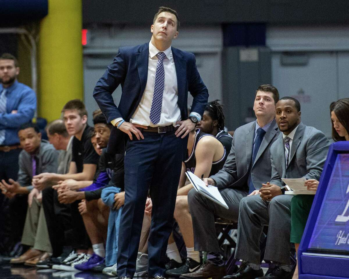 Niagara University head mens basketball coach Greg Paulus against UAlbany at the SEFCU Arena in Albany, New York, on Saturday, Dec. 14, 2019 (Jim Franco/Special to the Times Union.)