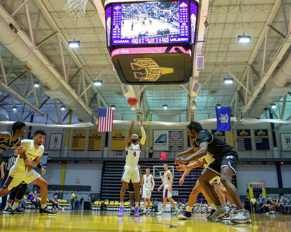 UAlbany senior Ahmad Clark takes a free throw against Niagara University at the SEFCU Arena in Albany, New York, on Saturday, Dec. 14, 2019 (Jim Franco/Special to the Times Union.)