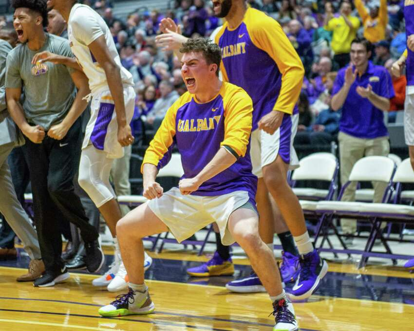 UAlbany senior Nick Fruscio cheers for his team during a mens basketball game against Niagara University at the SEFCU Arena in Albany, New York, on Saturday, Dec. 14, 2019 (Jim Franco/Special to the Times Union.)