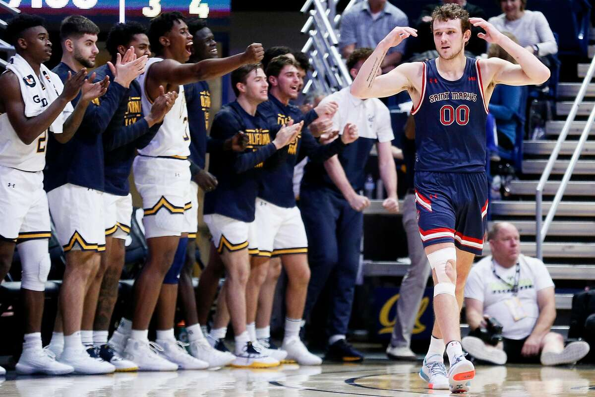 St. Mary's Gaels guard Tanner Krebs (00) reacts after a foul against them in the first half of an NCAA men�s basketball game against the California Golden Bears at Haas Pavilion on Saturday, Dec. 14, 2019, in Berkeley, Calif.