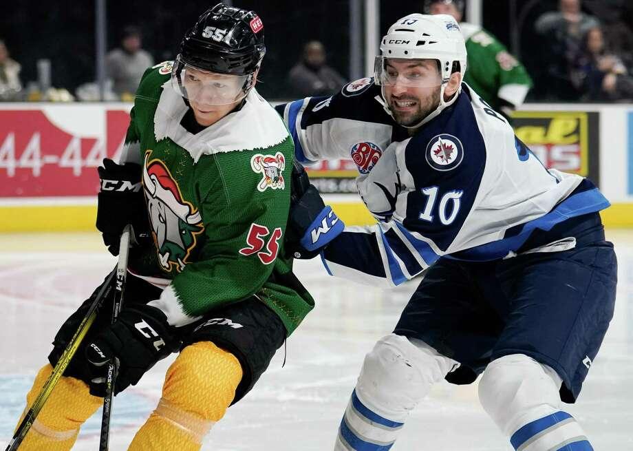 The Manitoba Moose play the San Antonio Rampage during the third period of an AHL hockey game, Saturday, Dec. 14, 2019, in San Antonio. Manitoba won 4-2. (William J. Abate/AHL) Photo: William J. Abate, FRE / William J. Abate/AHL / William J. Abate/AHL
