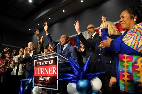 Mayor Sylvester Turner thanks his supporters and talks about his plan for the next four years during his runoff election night watch party on Saturday, Dec. 14, 2019, in Houston.