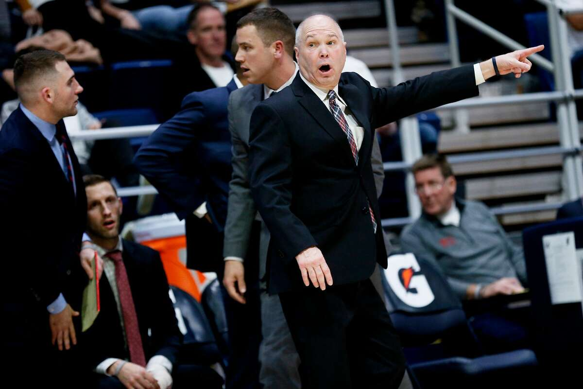 St. Mary's Gaels head coach Randy Bennett talks to the official in the first half of an NCAA men's basketball game against the California Golden Bears at Haas Pavilion on Saturday, Dec. 14, 2019, in Berkeley, Calif.