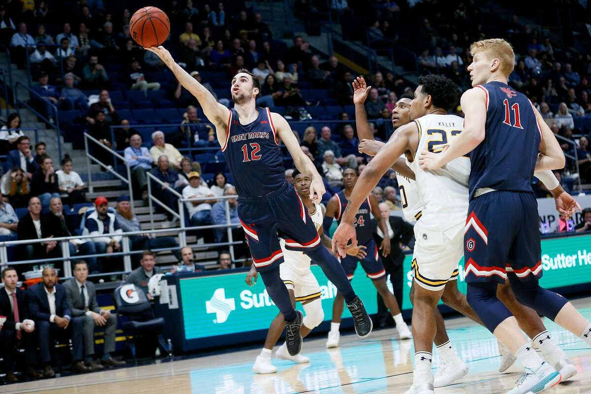 St. Mary's Gaels guard Tommy Kuhse (12) scores in the second half of an NCAA men�s basketball game against the California Golden Bears at Haas Pavilion on Saturday, Dec. 14, 2019, in Berkeley, Calif.