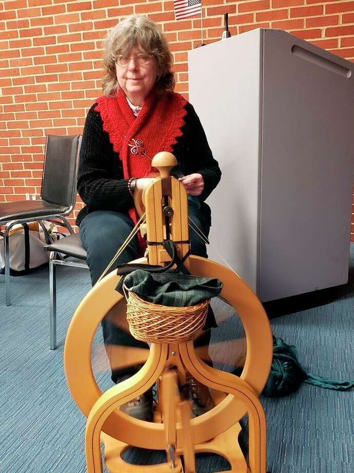 Linda Ritz presented a history of spinning. (Photo submitted)