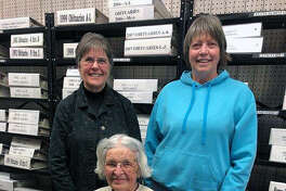 New officers for the Jacksonville Area Genealogical and Historical Society are Theresa Schroeder (from left), Elizabeth Hardy and Anne Jackson.