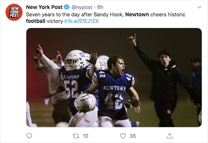 Many took to Twitter on Saturday, December 15, 2019 to celebrate Newtown football's win over Darien, in the last play of the game. This is the first state championship for the school since 1992, and comes seven years after the events of Sandy Hook.