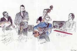 The jazz group Little Queens held a jam session in the catacomb-like jazz club under the Czech Cultural Center in Paris.