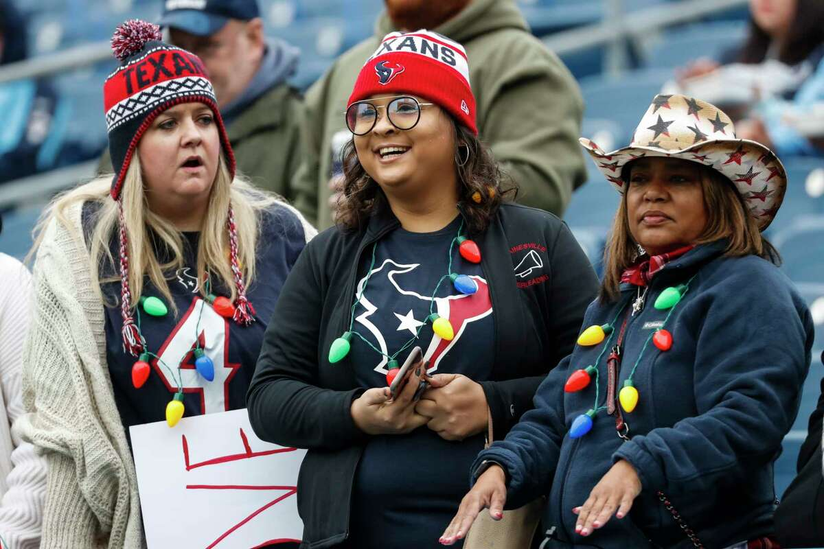 Houston Texans fans watch warm ups before an NFL football game against the Tennessee Titans at Nissan Stadium on Sunday, Dec. 15, 2019, in Nashville.