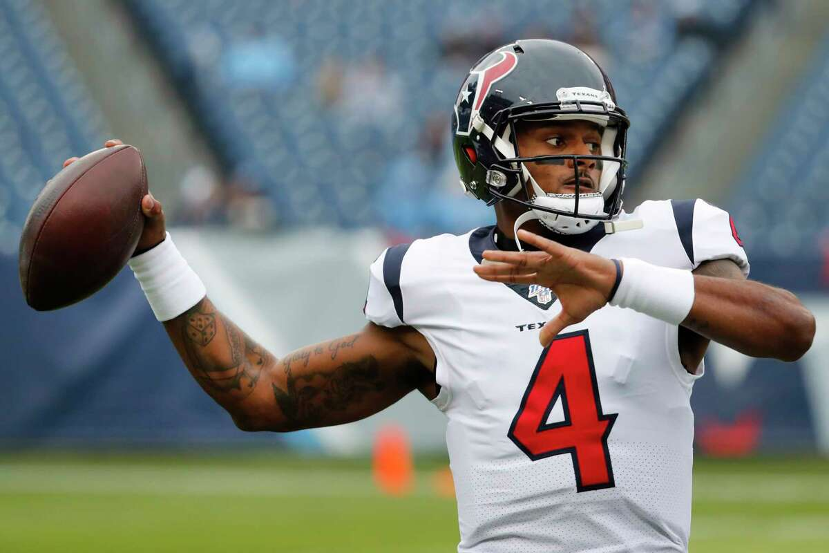 Houston Texans quarterback Deshaun Watson warms up before an NFL football game against the Tennessee Titans at Nissan Stadium on Sunday, Dec. 15, 2019, in Nashville.
