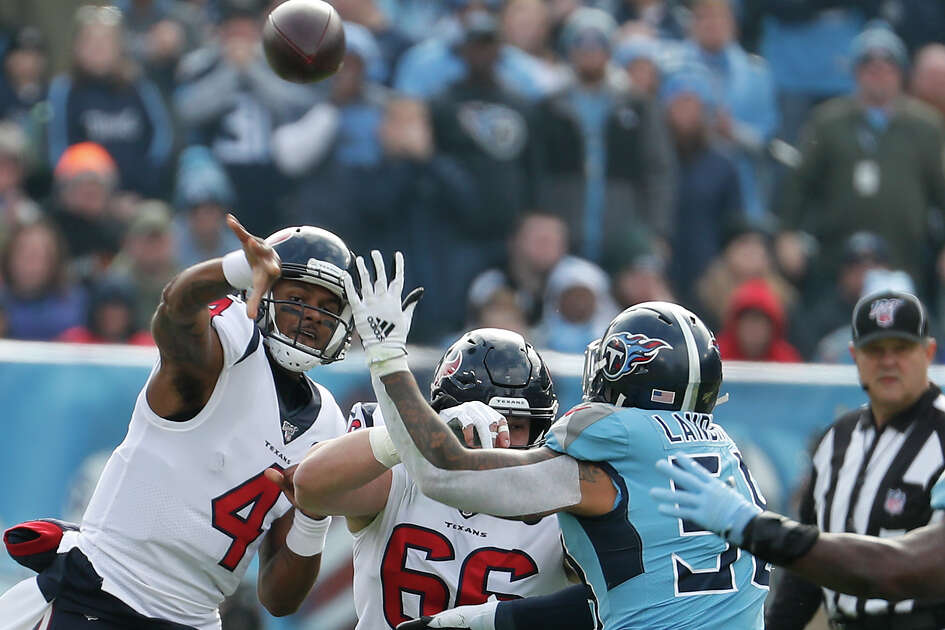 Houston Texans quarterback Deshaun Watson (4) throws a pass against the Tennessee Titans during the first quarter of an NFL football game at Nissan Stadium on Sunday, Dec. 15, 2019, in Nashville.