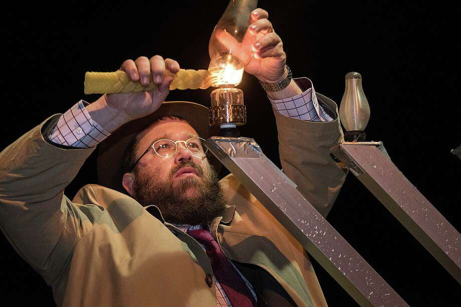 Rabbi Levi Stone of the Schneerson Center for Jewish Life will light the giant menorah on the town green on Sunday evening, Dec. 22, at 5 p.m. Photo: Bryan Haeffele / Hearst Connecticut Media / Hearst Connecticut Media