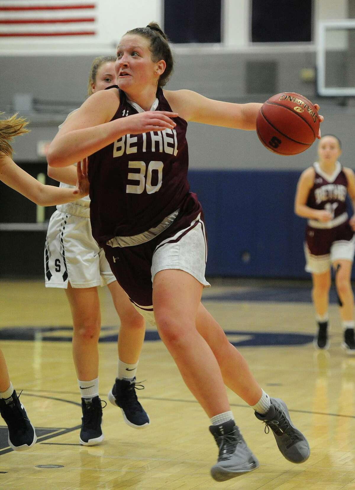 Bethel's Maranda Nyborg drives to the basket in the first half of their girls basketball game at Staples High School in Westport, Conn. on Monday, December 10, 2018.