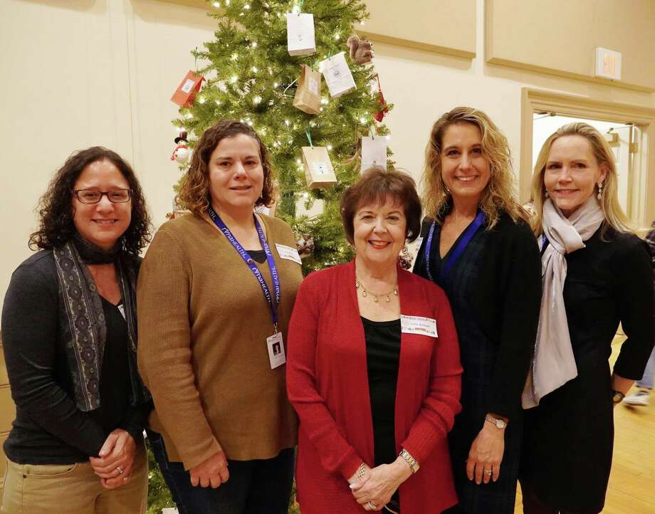Stay at Home in Wilton president Sally Kirmser with the RVNA health staff, from left, Jo Bennett, marketing; Gigi Weiss, director of rehabilitation; Katy Johannsen, director of business development; Nancy Rowe, marketing. Photo: Debbie Louis / Stay At Home In Wilton / Wilton Bulletin Contributed