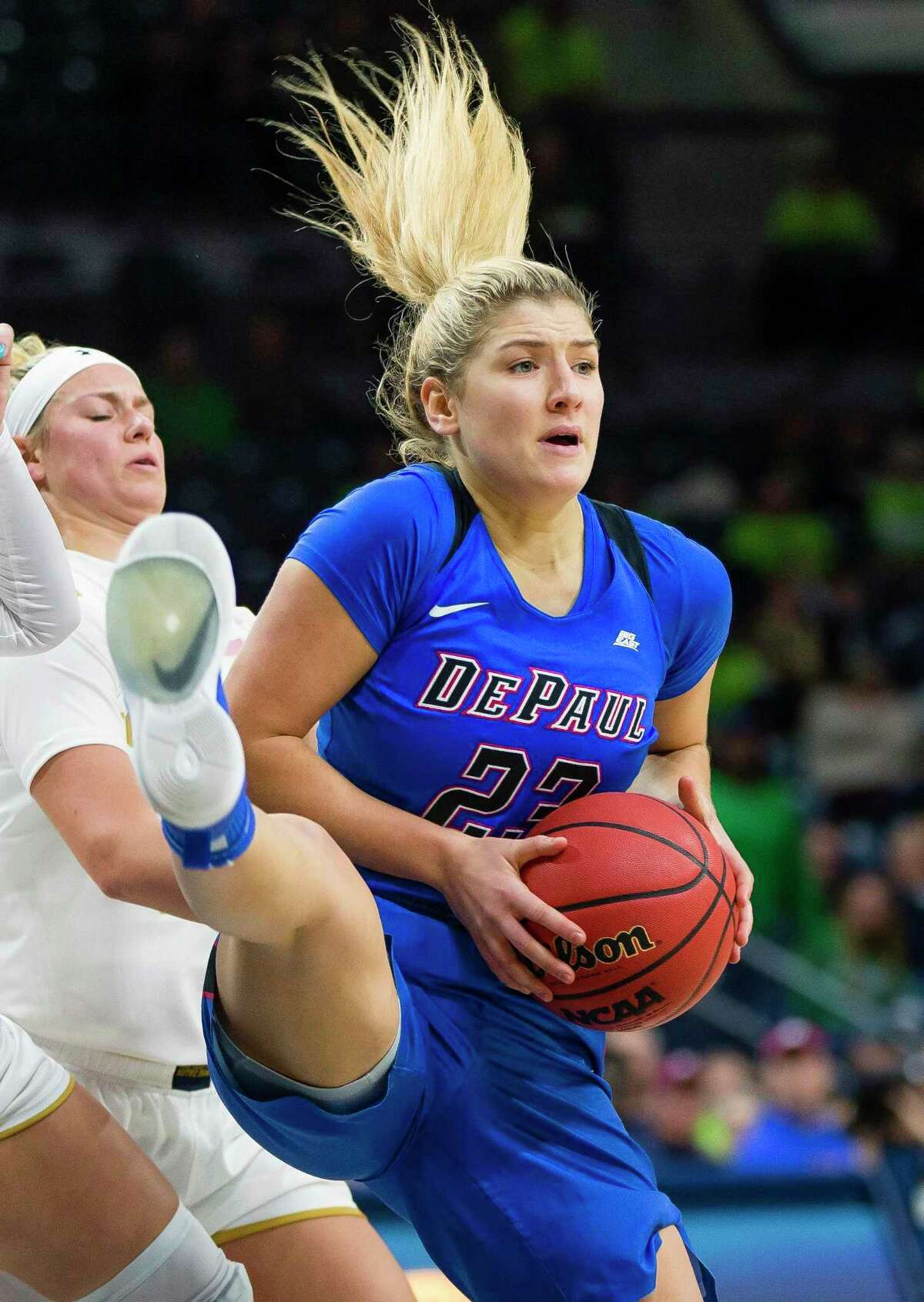 Dee Bekelja and DePaul will host second-ranked UConn on Monday.