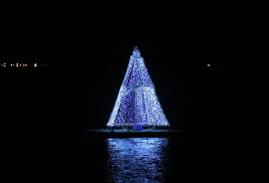 What's better than a waterfront view of Captain Harbor? How about a floating Christmas tree? Indian Harbor Yacht Club lit its floating Christmas tree on Tuesday, December 3rd, for all to enjoy. The tree can be seen from the beautifully renovated town pier on Steamboat Road. Photo: Bob Capazzo
