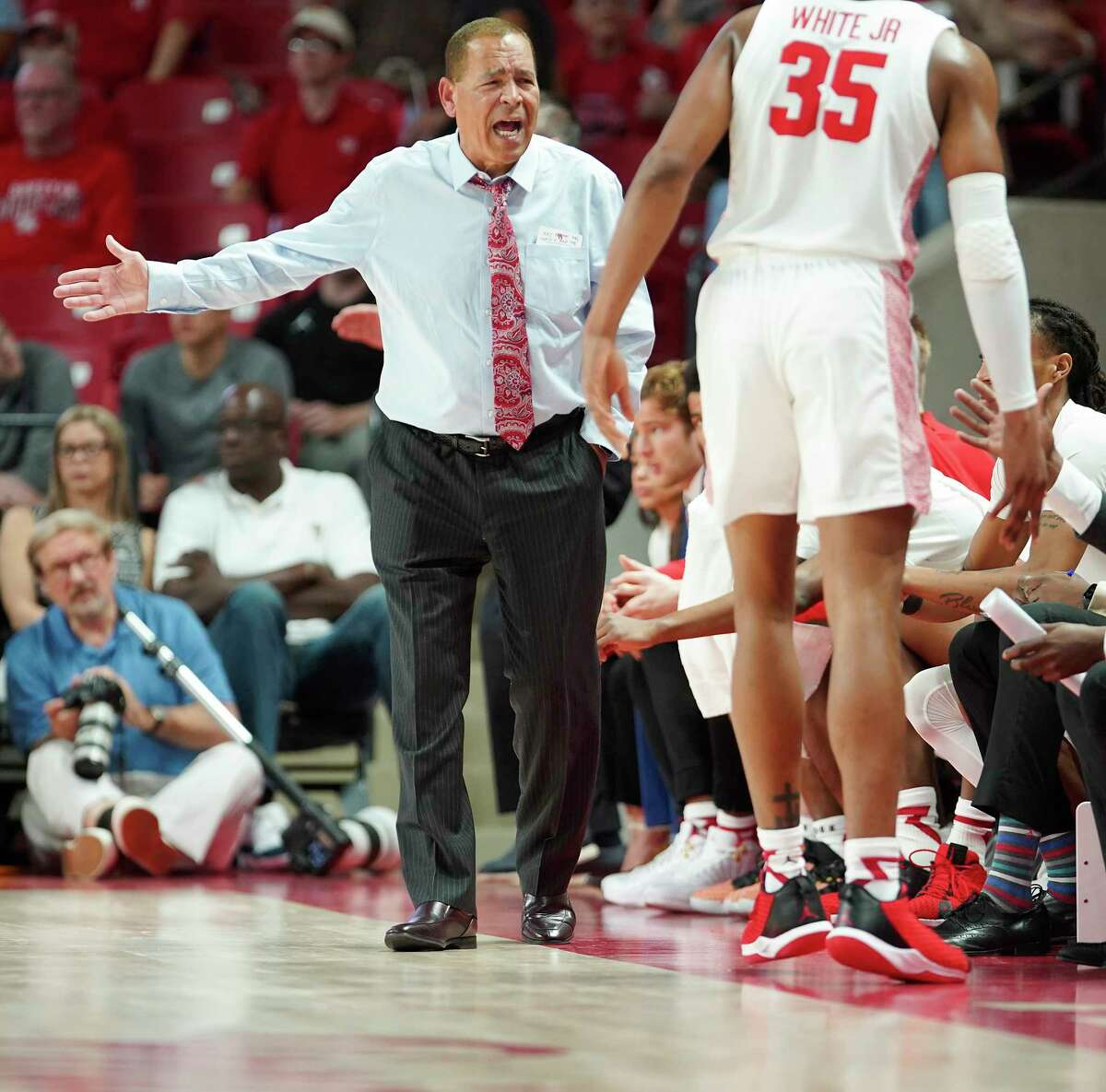 Houston Cougars head coach Kelvin Sampson shares his feelings about a call in the first half against Oklahoma State Cowboys at Fertitta Center on Sunday, Dec. 15, 2019 in Houston.