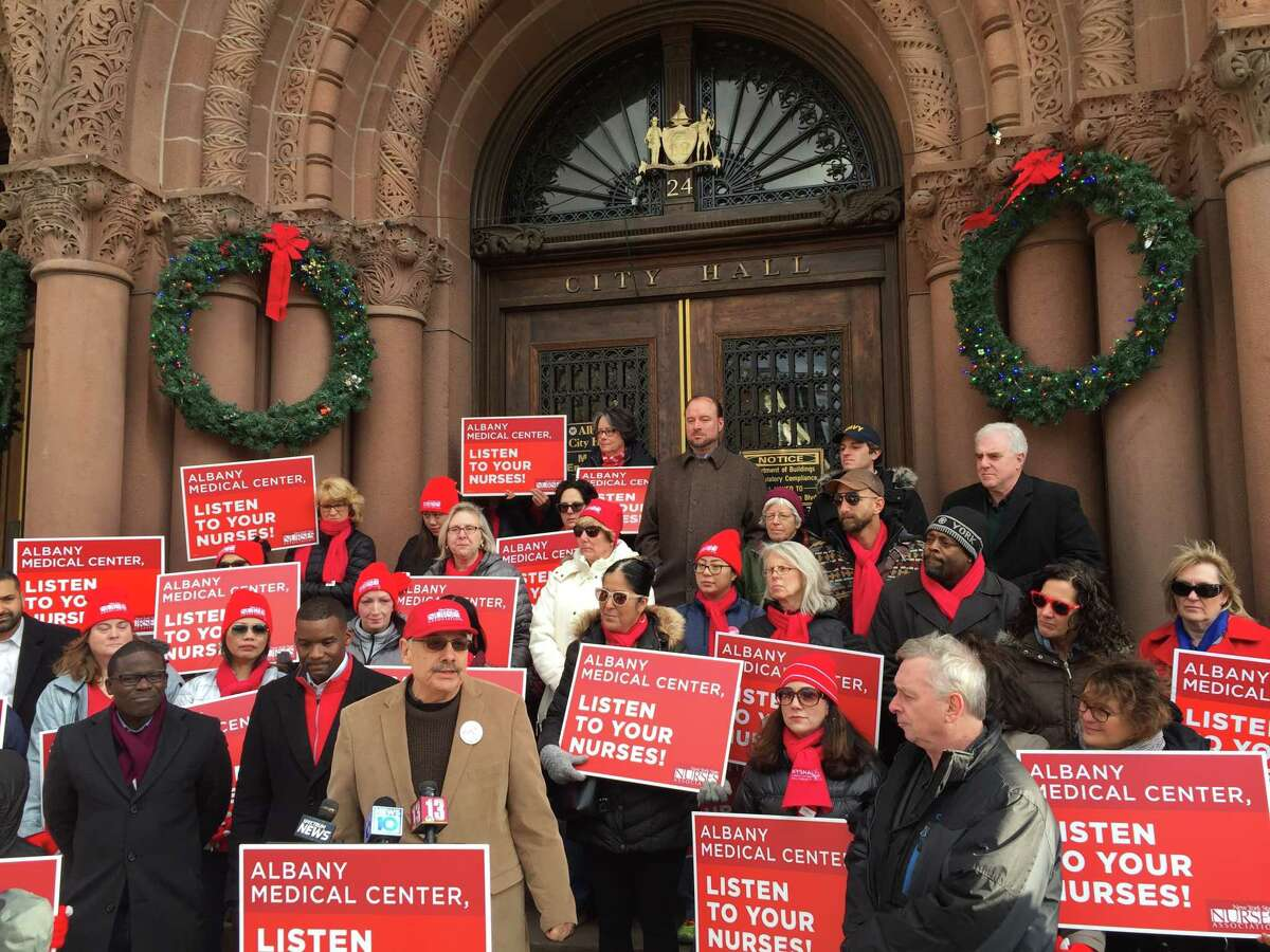 Several dozen Albany Medical Center nurses, supporters and elected officials held a prayer vigil and rally on Sunday afternoon outside Albany City Hall.
