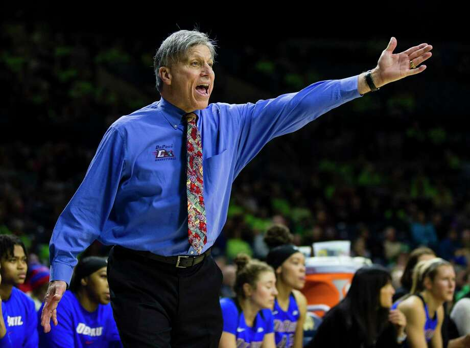 Coach Doug Bruno and the DePaul women's basketball team will host UConn on Monday. Photo: Michael Caterina / Associated Press / South Bend Tribune