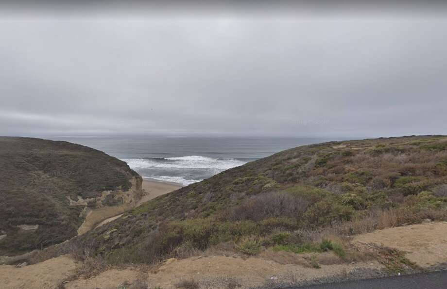 A view of Pomponio State Beach from Highway 1, which was closed in both directions as the result of a collision Sunday. Photo: Google Maps